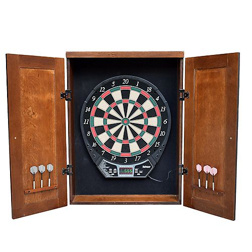 Hathaway Brookline Electronic Dartboard Cabinet Set - Walnut