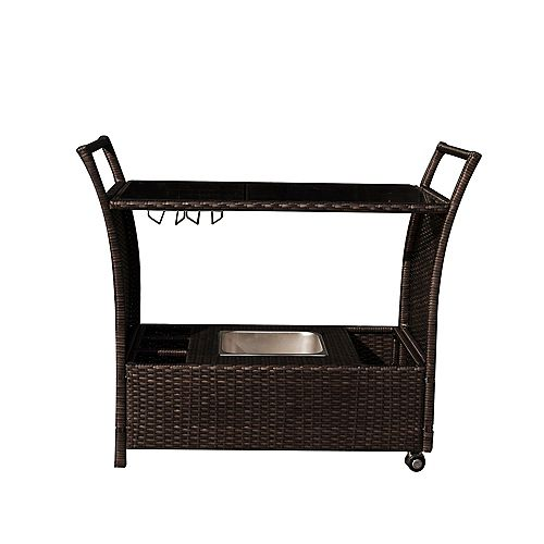 Island Retreat Outdoor Bar Cart - Rolling Resin Wicker Bar for Pools and Patios