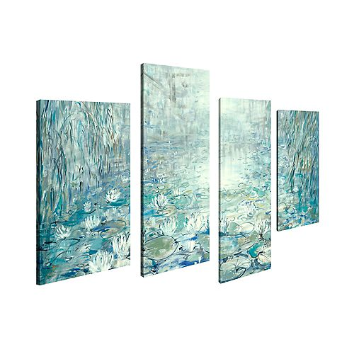 Abstract Landscape Floating Flowers Print Canvas Wall ArtSet of 4