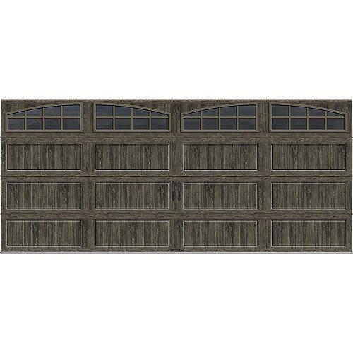 Collection Gallery 16 pi x 7 pi Porte de garage Valeur «R» 18.4 isolant Intellicore avec Arch fenêtres gris ardoise