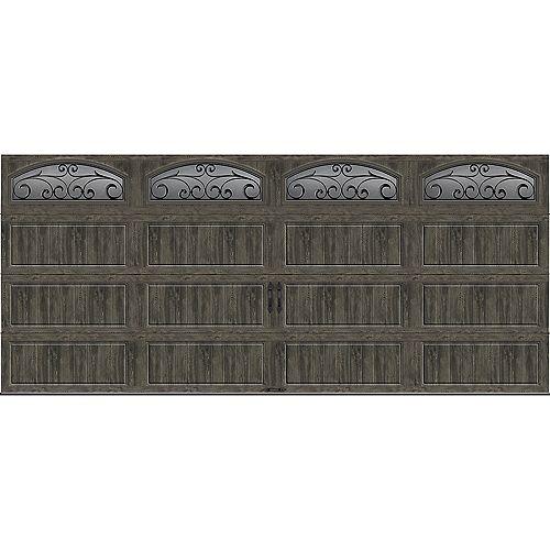 Collection Gallery 16 pi x 7 pi Porte de garage Valeur «R» 18.4 isolant Intellicore gris ardoise avec fenêtres
