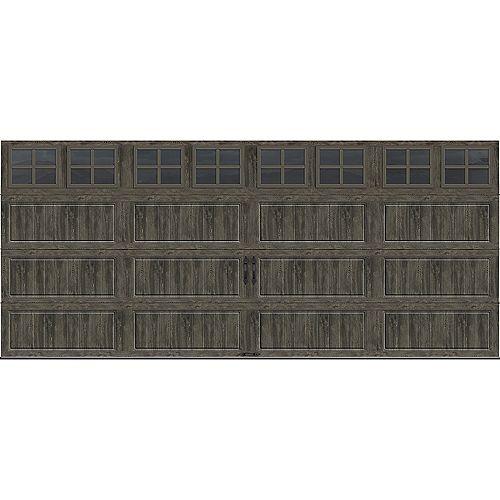 Porte de garage collection Gallery 16 pi x 7 pi Valeur «R» 18.4 isolée Intellicore gris ardoise avec fenêtres SQ22