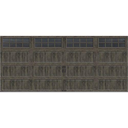 Collection Gallery 16 pi x 7 pi Porte de garage Valeur «R» 18.4 isolée Intellicore gris ardoise avec fenêtres SQ24