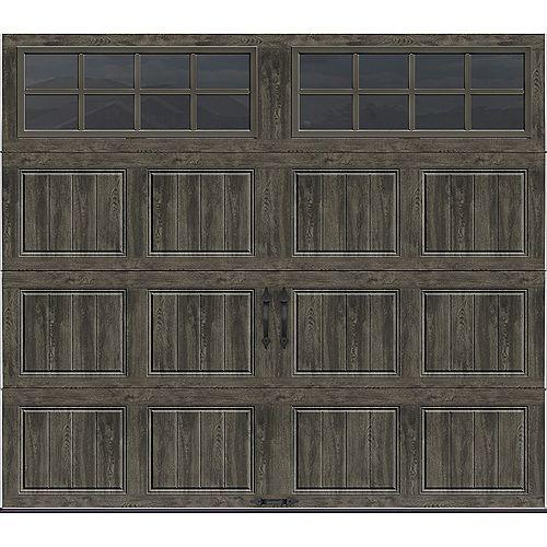 Collection Gallery 8 pi x 7 pi Porte de garage Valeur «R» 18.4 isolée Intellicore gris ardoise avec fenêtres SQ24