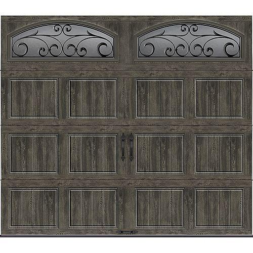 Collection Gallery 8 pi x 7 pi Porte de garage Valeur «R» 18.4 isolée Intellicore gris ardoise avec fenêtres décorativé