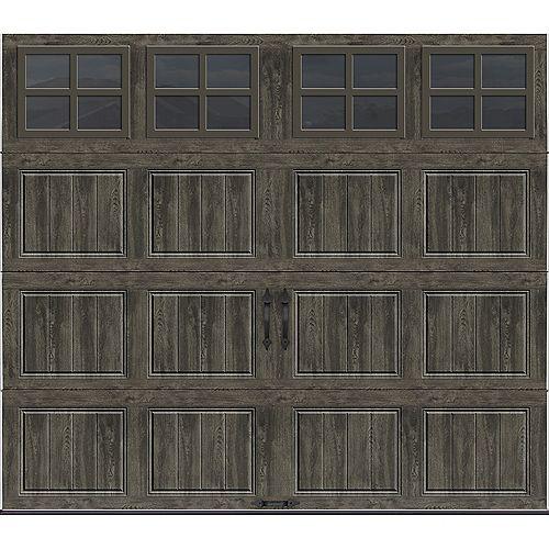 Collection Gallery 8 pi x 7 pi Porte de garage Valeur «R» 18.4 isolée Intellicore gris ardoise avec fenêtres SQ22