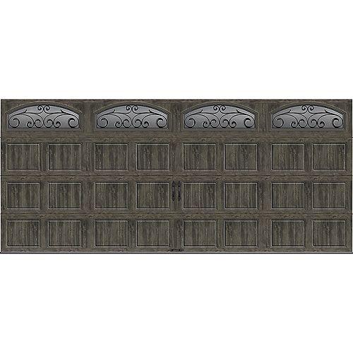Collection Gallery 16 pi x 7 pi Porte de garage Valeur «R» 6.5 isolée gris ardoise avec fenêtres