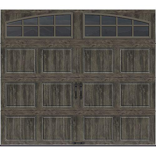 Collection Gallery 8 pi x 7 pi Porte de garage Valeur «R» 6.5 isolée gris ardoise avec fenêtres Arch