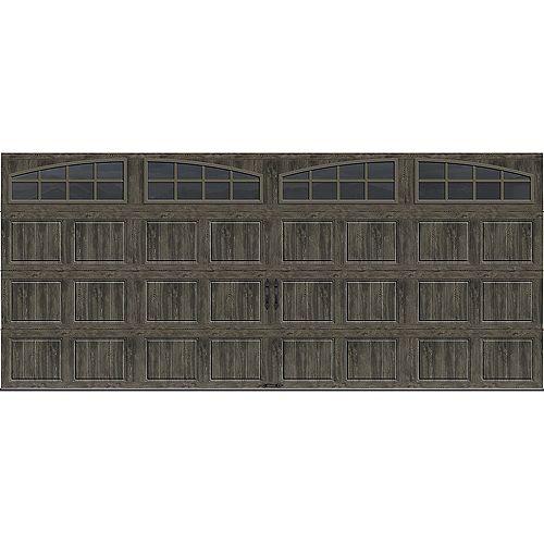 Collection Gallery 16 pi x 7 pi Porte de garage Valeur «R» 6.5 isolée gris ardoise avec fenêtres Arch