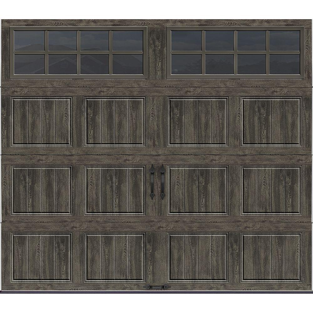 Clopay Collection Gallery 8 pi x 7 pi Porte de garage Valeur «R» 6.5 isolée gris ardoise avec fenêtres SQ24