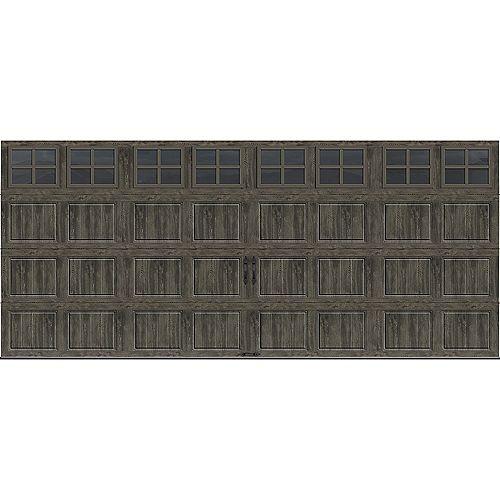 Collection Gallery 16 pi x 7 pi Porte de garage Valeur «R» 6.5 isolée gris ardoise avec fenêtres SQ24
