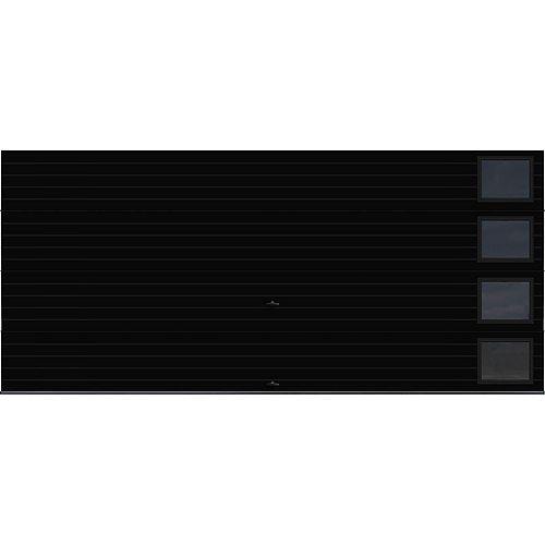 Collection Griffontown 16 pi x 7 pi Porte de garage Valeur «R» 9.0 Noire avec fenêtres Contemporain