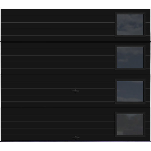 Modern Steel Collection 8 ft. x 7 ft. 9.0 R-Value Insulated Black with Contemporary Windows Garage Door