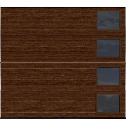 Clopay Modern Steel Collection 8 ft. x 7 ft. 9.0 R-Value Insulated Walnut with Contemporary Windows Garage Door