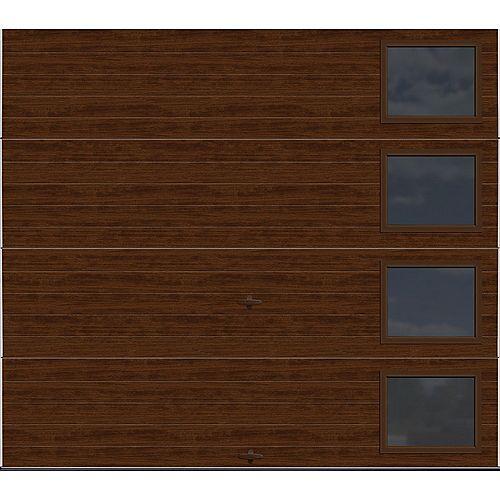 Clopay Collection Griffontown 8 pi x 7 pi Porte de garage Valeur «R» 9.0 isolée Fini Noyer avec fenêtres Contemporain