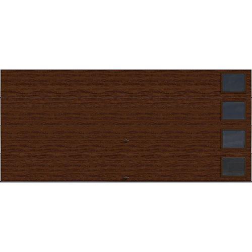 Collection Griffontown 16 pi x 7 pi Porte de garage Valeur «R» 18.4 isolée Fini Noyeravec fenêtres Contemporain