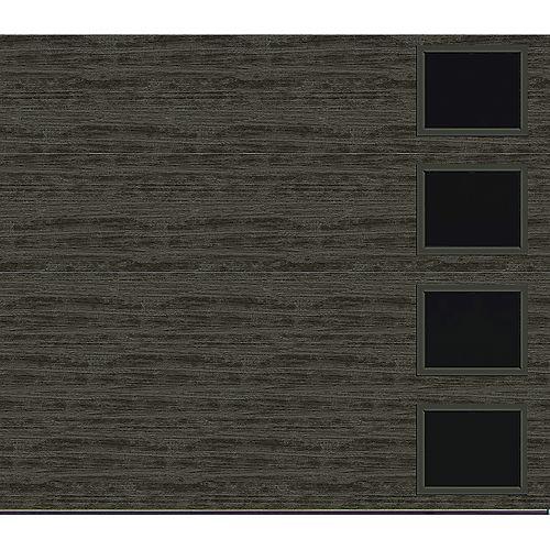 Clopay Collection Griffontown 8 pi x 7 pi Porte de garage Valeur «R» 18.4 isolée Solide gris ardoise avec fenêtres Contemporain