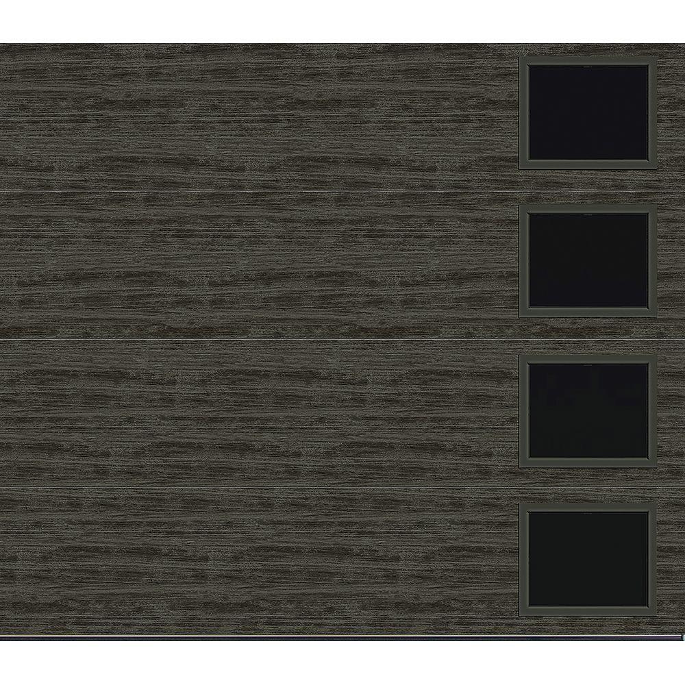 Clopay Collection Griffontown 9 pi x 7 pi Porte de garage Valeur «R» 18.4 isolée Solide gris ardoise avec fenêtres Contemporain