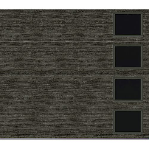 Collection Griffontown 9 pi x 7 pi Porte de garage Valeur «R» 18.4 isolée Solide gris ardoise avec fenêtres Contemporain
