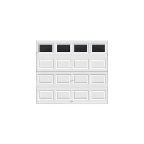 Classic Collection 8 ft. x 7 ft. 6.5 R-Value Insulated White Garage Door with Plain Windows