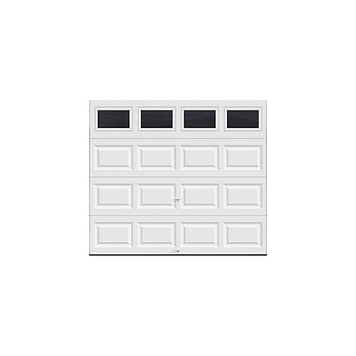 Classic Collection 9 ft. x 7 ft. 6.5 R-Value Insulated White Garage Door with Plain Windows