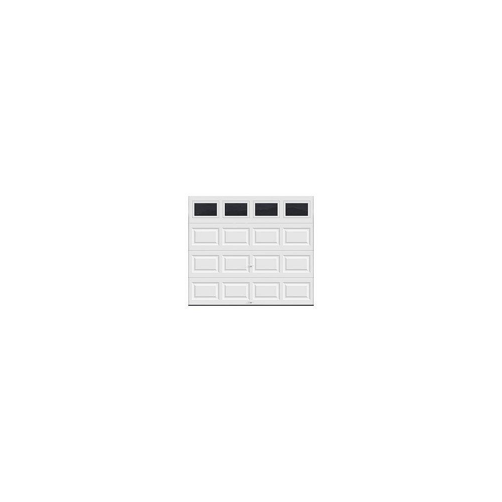 Clopay Collection Classique 9 pi x 7 pi Porte de garage Valeur «R» 6.5 isolée Solide Blanc avec fenêtres Unie