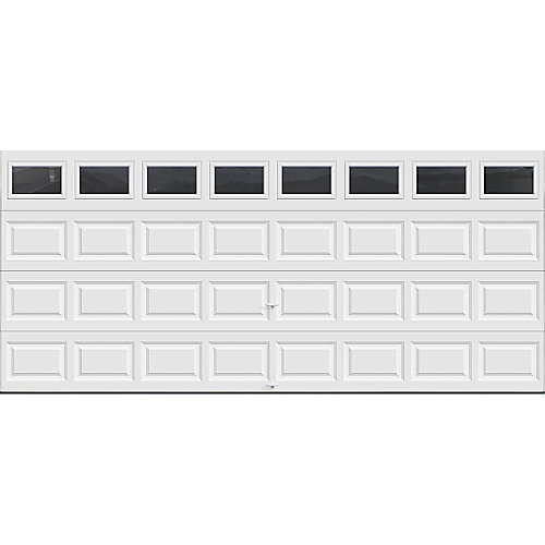 Classic Collection 16 ft. x 7 ft. 6.5 R-Value Insulated White Garage Door with Plain Windows