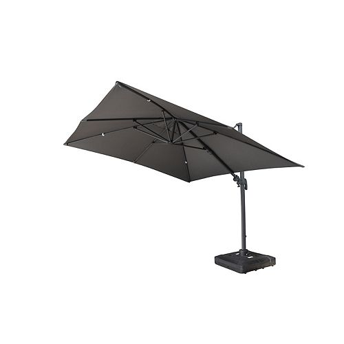 10 ft. Sabia Square Cantilever Umbrella with Fillable Base in Dark Grey