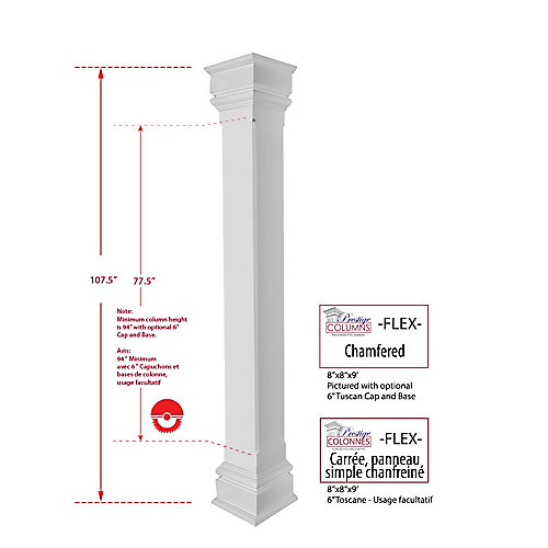 Column - PVC, Square, Chamfered Plain Panel, 8 inch @ 9 .ft