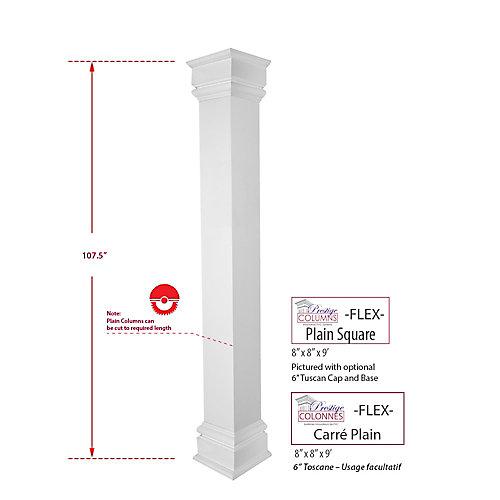 Column - PVC, Square FLEX, Plain, 8 inch @ 9 .ft