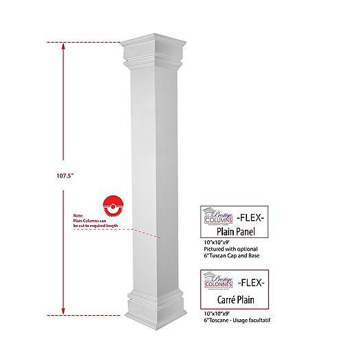 Column - PVC, Square FLEX, Plain, 10 inch @ 9 .ft