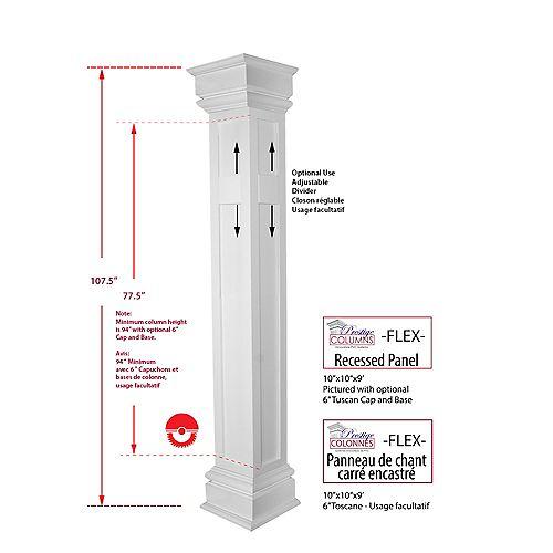 Column - PVC, Square FLEX, Recessed Square Edge Panel, 10 inch @ 9 .ft