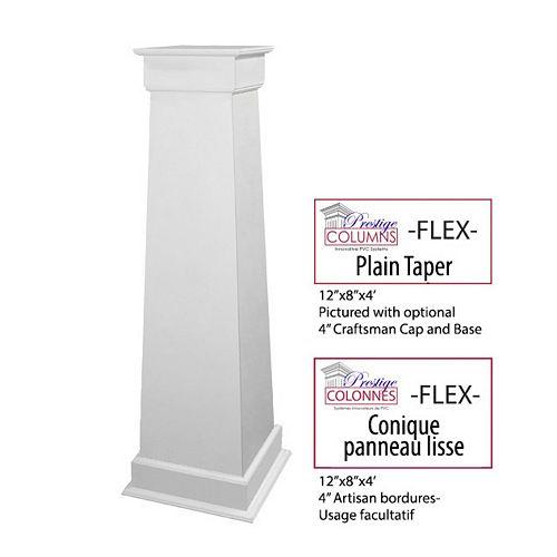 Column - PVC, Tapered FLEX, Plain Panel, 12 inch -8 inch @ 4 .ft