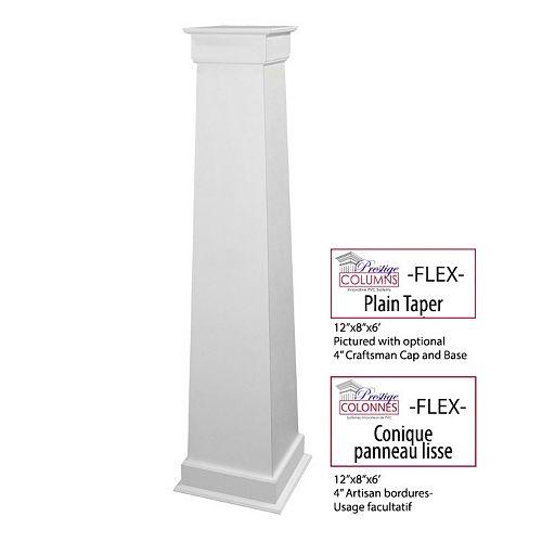 Column - PVC, Tapered FLEX, Plain Panel, 12 inch -8 inch @ 6 .ft