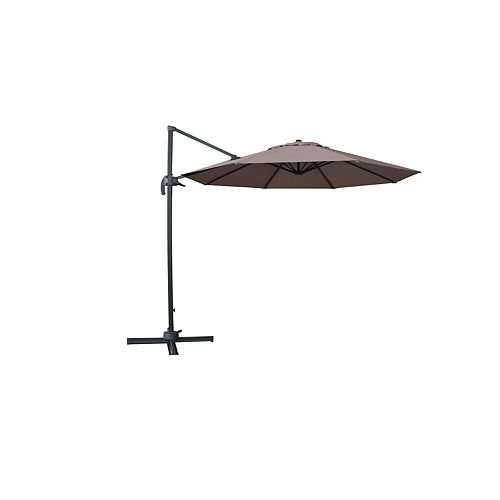 Valencia 10 ft. Cantilever Umbrella with Steel Cross-Base in Mocha