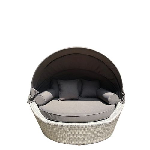 Sogno Light Grey All-Weather Wicker Patio Canopy Daybed