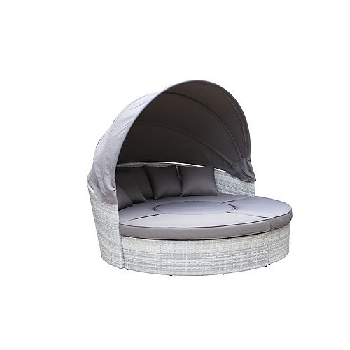 Sogno XL Light Grey All-Weather Wicker Patio Canopy Daybed