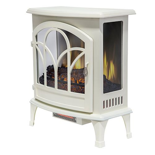 25 inch Curved Front Panoramic Stove Glass Front - White