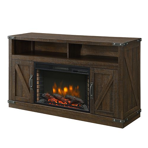 Aberfoyle 53-inch Freestanding Electric Fireplace TV Stand in Rustic Brown
