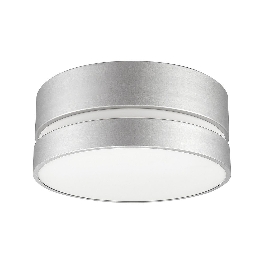Globe Electric Belamy 2 Light Matte Silver Flush Mount Ceiling Light With Frosted Glass Sh The Home Depot Canada