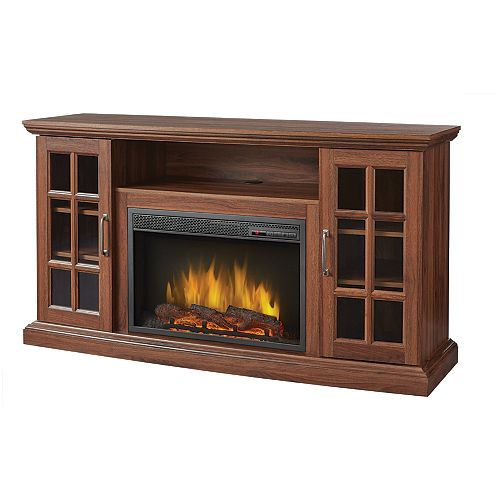 Brookfield 59-inch Media Fireplace in Burnished Walnut