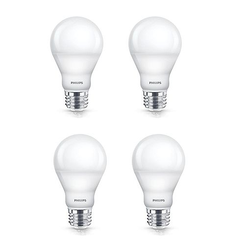 60W Soft White A19 Dimmable LED Light Bulb (4-Pack)