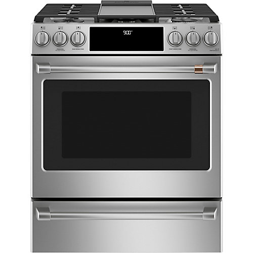30-inch Slide-In Dual-Fuel Convection Range with Warming Drawer in Stainless Steel