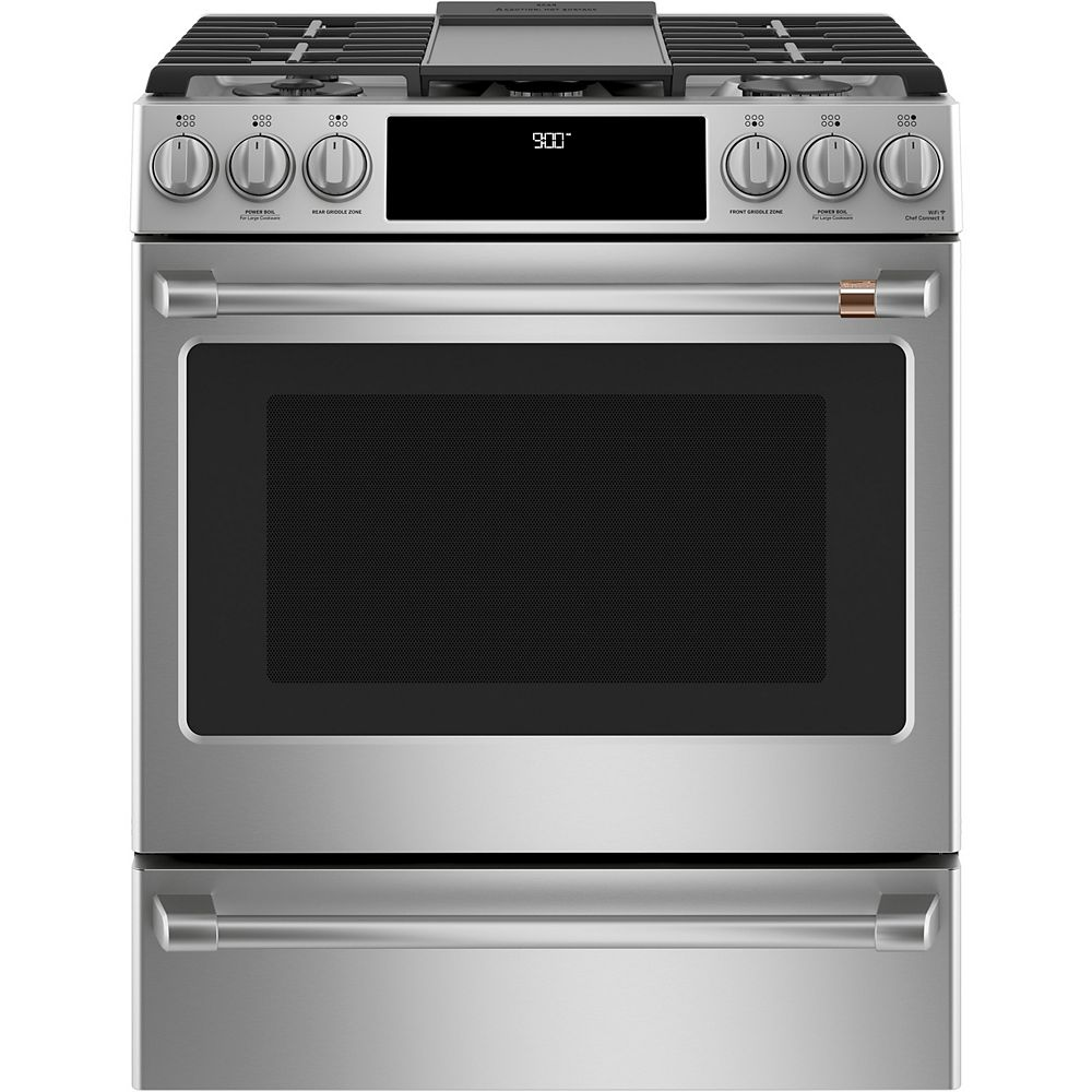 Café 30-inch Slide-In Dual-Fuel Convection Range with Warming Drawer in Stainless Steel