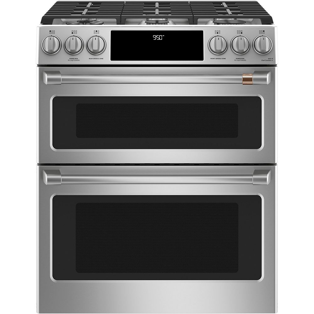 Café 30-inch Slide-In Dual-Fuel Double Oven with Convection Range in Stainless Steel