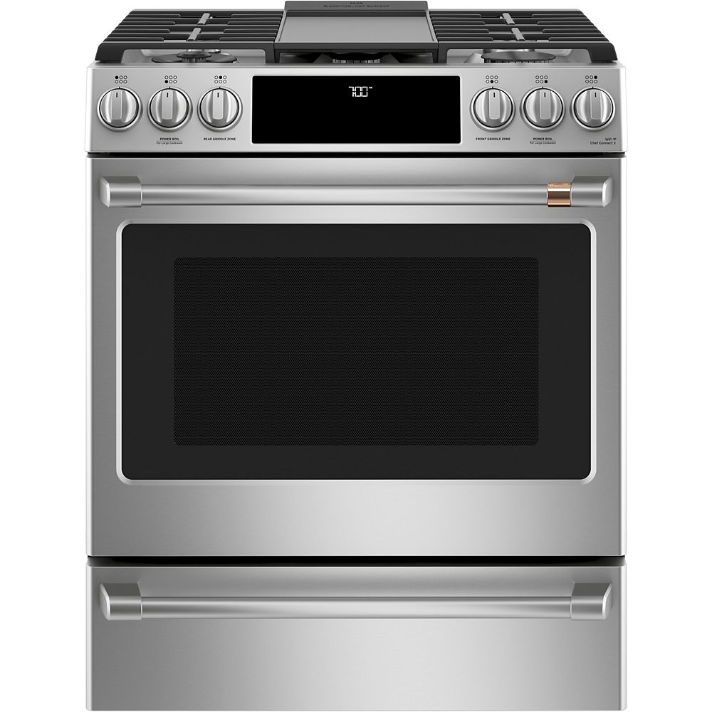 Café 30-inch Slide-In Gas Range with Convection Oven in Stainless Steel