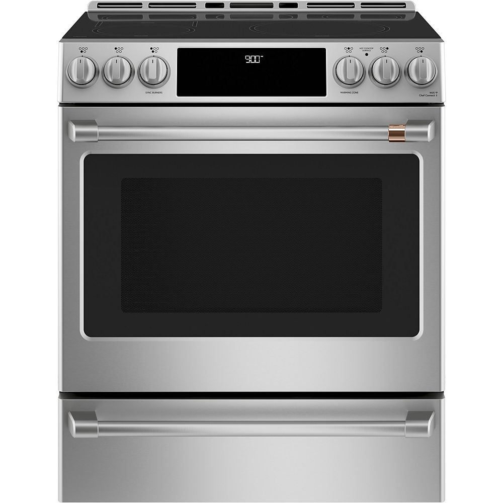 Café 30-inch Slide-In Induction and Convection Range with Warming Drawer in Stainless Steel