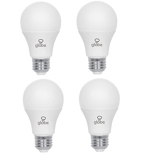 60W Equivalent Warm White (3000K) A19 Non-Dimmable LED Light Bulb (4-Pack)