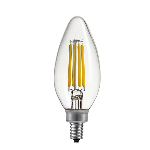 40W Equivalent Warm White (2700K) B11 Dimmable LED Candelabra Light Bulb, E12 Base