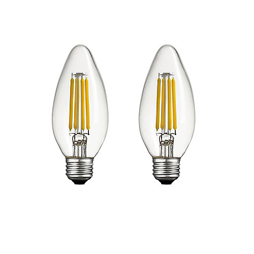 40W Equivalent Warm White (2700K) B11 Dimmable Candelabra LED Light Bulb with E26 Base (2-Pack)